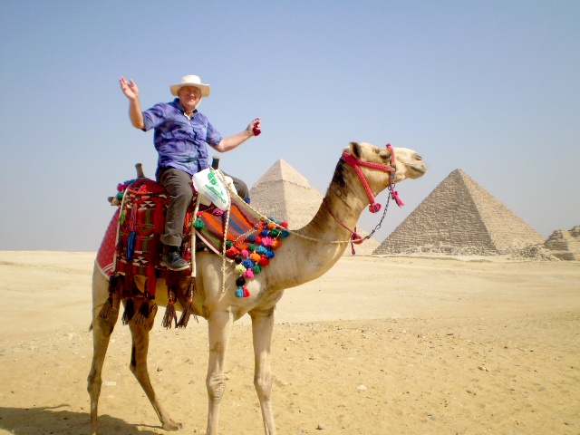 Bill on Camel Back at the Pyramids - Egypt