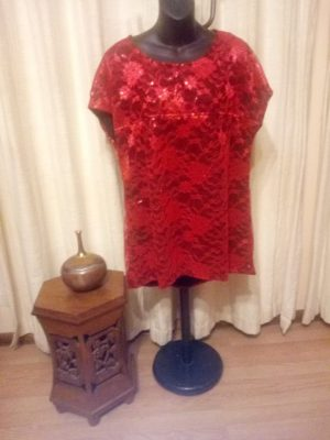 SH-104 Sleeveless Lace Fully Lined Top – Red