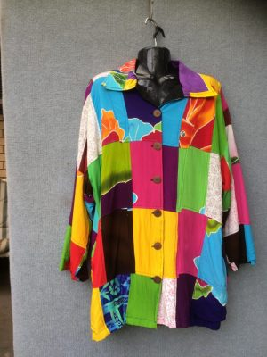 JK-16 – Jacket Fully Lined Button Front With Collar – Bright Multi-Coloured