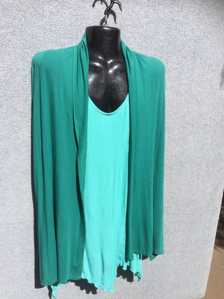 JK-35L Long Sleeveless Open Jacket - Green