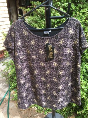 SH-104 Lace Top – Fully Lined – Black-Gold