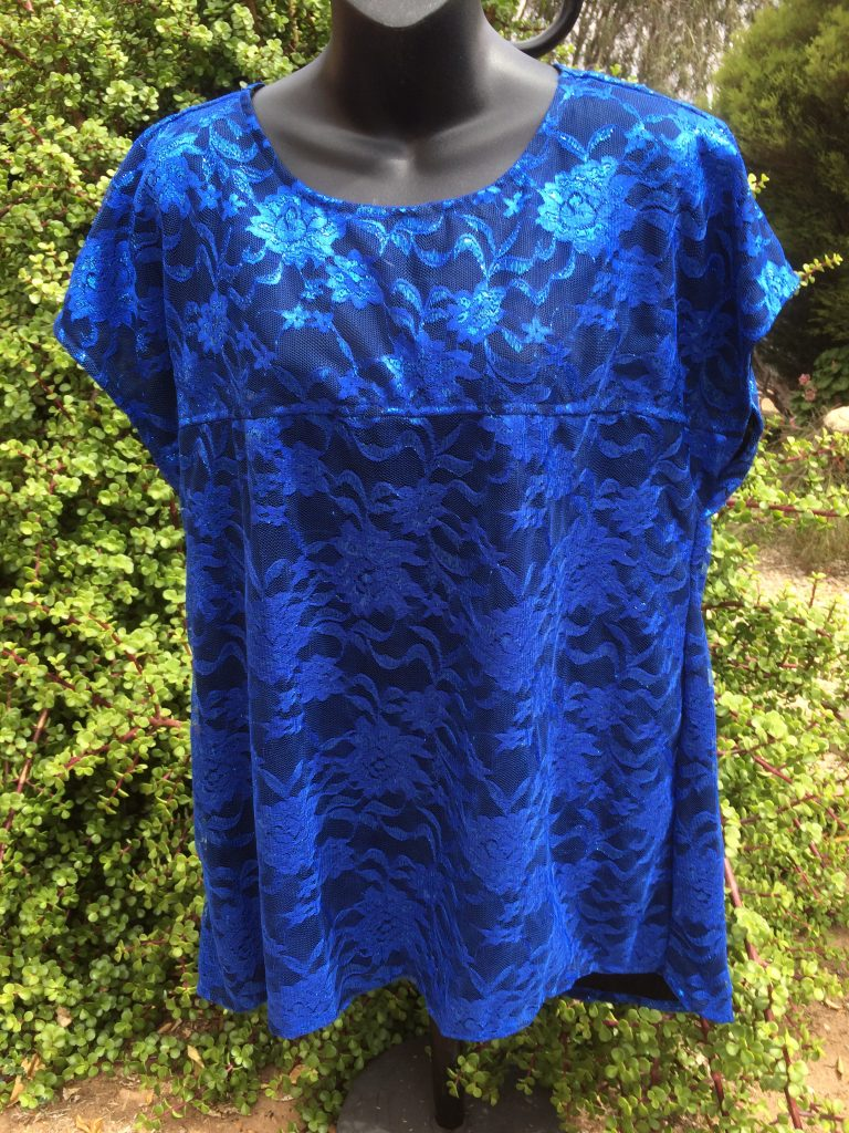 SH-104 Lace Top – Fully Lined – Blue - Model
