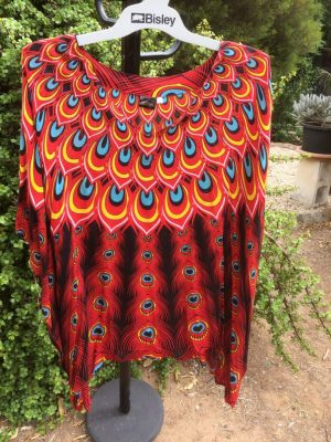 SH-56 Plus One Size Top – Red Peacock Design