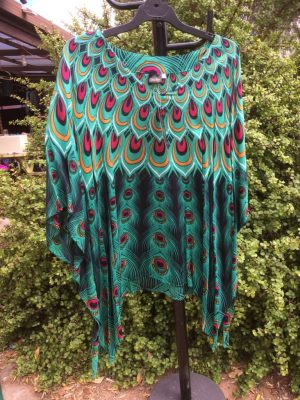 SH-56 Plus One Size Top – Turquoise Peacock Design